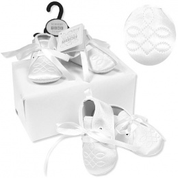 Baby Boys White Satin Scroll Christening Shoes