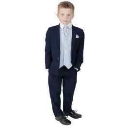Boys Navy & Blue 6 Piece Slim Fit Suit