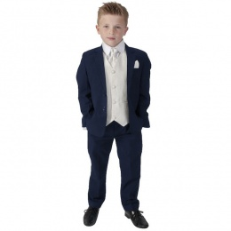 Boys Navy & Cream 6 Piece Slim Fit Suit