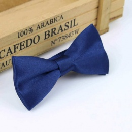 Boys Navy Satin Bow Tie with Adjustable Strap