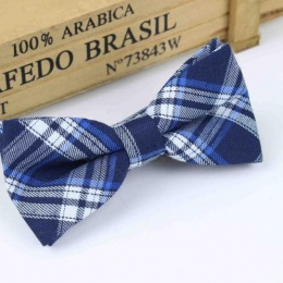 Boys Navy Tartan Dickie Bow with Adjustable Strap