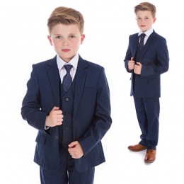 Boys Navy Check 5 Piece Slim Fit Suit ''Exclusive''