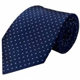 Boys Navy Dot Satin Tie (45'')