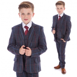 Boys Navy Tweed Check 5 Piece Jacket Suit