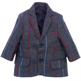 Boys Navy Tweed Check Jacket