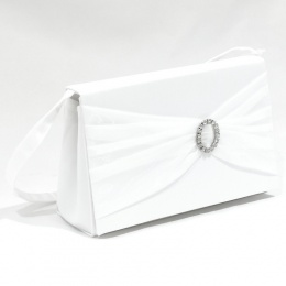 Girls White Diamante Bow Satin Bag - Kara P178 by Peridot