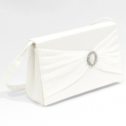 Girls Ivory Diamante Bow Satin Bag - Kara P178A by Peridot