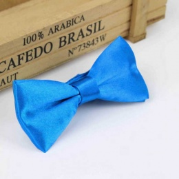 Boys Peacock Blue Satin Bow Tie with Adjustable Strap
