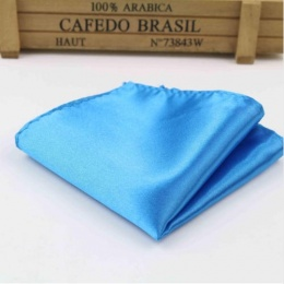 Boys Peacock Blue Satin Pocket Square Handkerchief