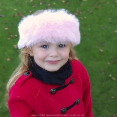 Girls Light Pink Faux Fur Head Band