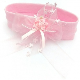 Baby Girls Pink Rosebud & Heart Trim Bow Cotton Headband