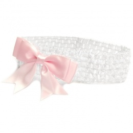 Baby Girls White Crochet Headband with Medium Satin Pink Bow