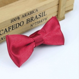 Boys Raspberry Satin Bow Tie with Adjustable Strap