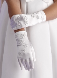Girls White Flower Communion Gloves - Rebecca P119 by Peridot