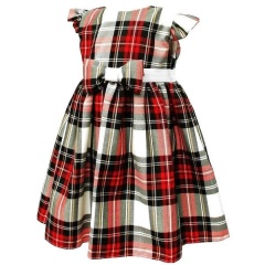 Girls White & Red Tartan Cap Sleeve Bow Dress