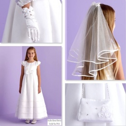 Rose White Communion Dress, Bag, Gloves & Veil - Peridot