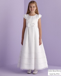 White Bow Holy Communion Dress - Rose P133 by Peridot