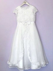 White Organza Communion Dress & Short Bolero - Rosemary & Aimee by Peridot