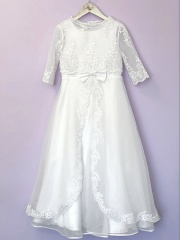 White Organza Communion Dress & Long Bolero - Rosemary & Mary by Peridot
