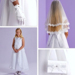 Rosemary White Communion Dress, Bag, Gloves & Veil - Peridot