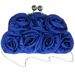 Girls Royal Blue Diamante Satin Rose Clutch Bag