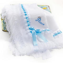 Luxury White & Blue Prince Shawl with Lace & Ribbon