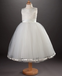 Girls Brocade & Tulle Porcelain Dress - Saffron by Busy B's Bridals