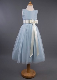 Girls Coloured Satin Ribbon Bow Dress - Sam by Busy B's Bridals