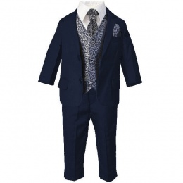 Boys Navy & Silver Swirl 6 Piece Slim Fit Suit