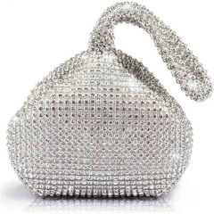 Girls Sparkly Silver Diamante Wrist Bag