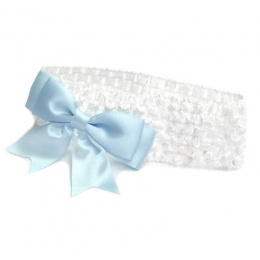 Baby Girls White Crochet Headband with Baby Blue Satin Bow