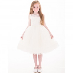 Girls Ivory Crystal & Pearl Embroidered Organza Dress