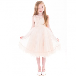 Girls Peach Crystal & Pearl Embroidered Organza Dress