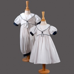Baby Twins Christening Dress & Romper - Tanya & Austin by Millie Grace