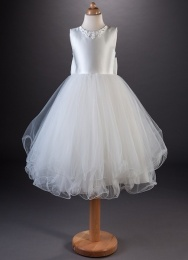 Girls Daisy & Crystal Satin Tulle Dress - Tawny by Busy B's Bridals