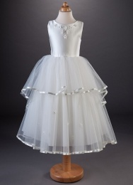 Girls Tiered Satin Tulle Dress - Thea by Busy B's Bridals