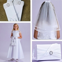 Theresa White Communion Dress, Bag, Gloves & Veil - Peridot