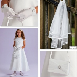 Theresa Ivory Communion Dress, Bag, Gloves & Veil - Peridot