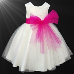 Girls Ivory Diamante & Organza Cerise Pink Sash Dress