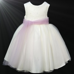 Girls Ivory Diamante & Organza Dusky Pink Sash Dress