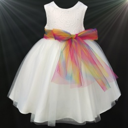Girls Ivory Diamante & Organza Dress with Rainbow Sash