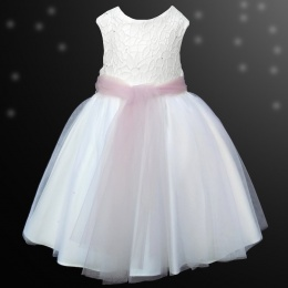 Girls White Diamante & Organza Dusky Pink Sash Dress