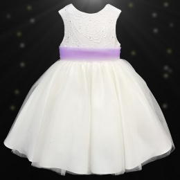 Girls Ivory Diamante & Organza Dress with Lilac Sash