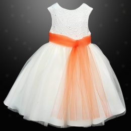 Girls Ivory Diamante & Organza Dress with Orange Sash