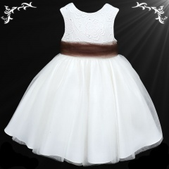 Girls White Diamante & Organza Dress with Brown Sash