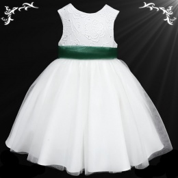 Girls White Diamante & Organza Dress with Hunter Sash
