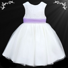 Girls White Diamante & Organza Dress with Lilac Sash