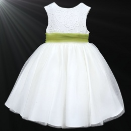 Girls White Diamante & Organza Dress with Olive Sash