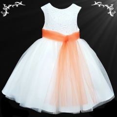 Girls White Diamante & Organza Dress with Orange Sash