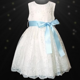 Girls Ivory Floral Lace Dress with Baby Blue Satin Sash